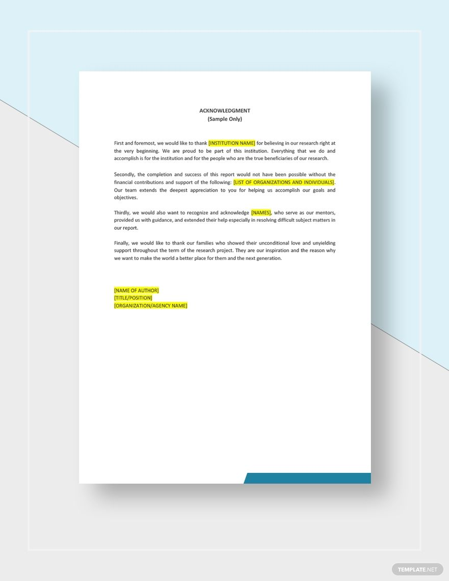 Acknowledgement Report Sample Templates New Things To Learn Report Sample Thank You Mentor