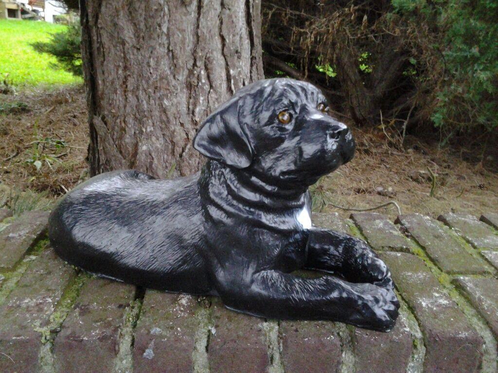 Labradorwelpe Gartenfigur Mit Glasaugen Aus Polyresin Eine