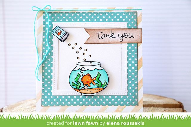 Lawn Fawn - Fintastic Friends, Let's Polka paper, Stitched Square Stackables, Stitched Journaling Card die set _ card by Elena for Lawn Fawn Design Team