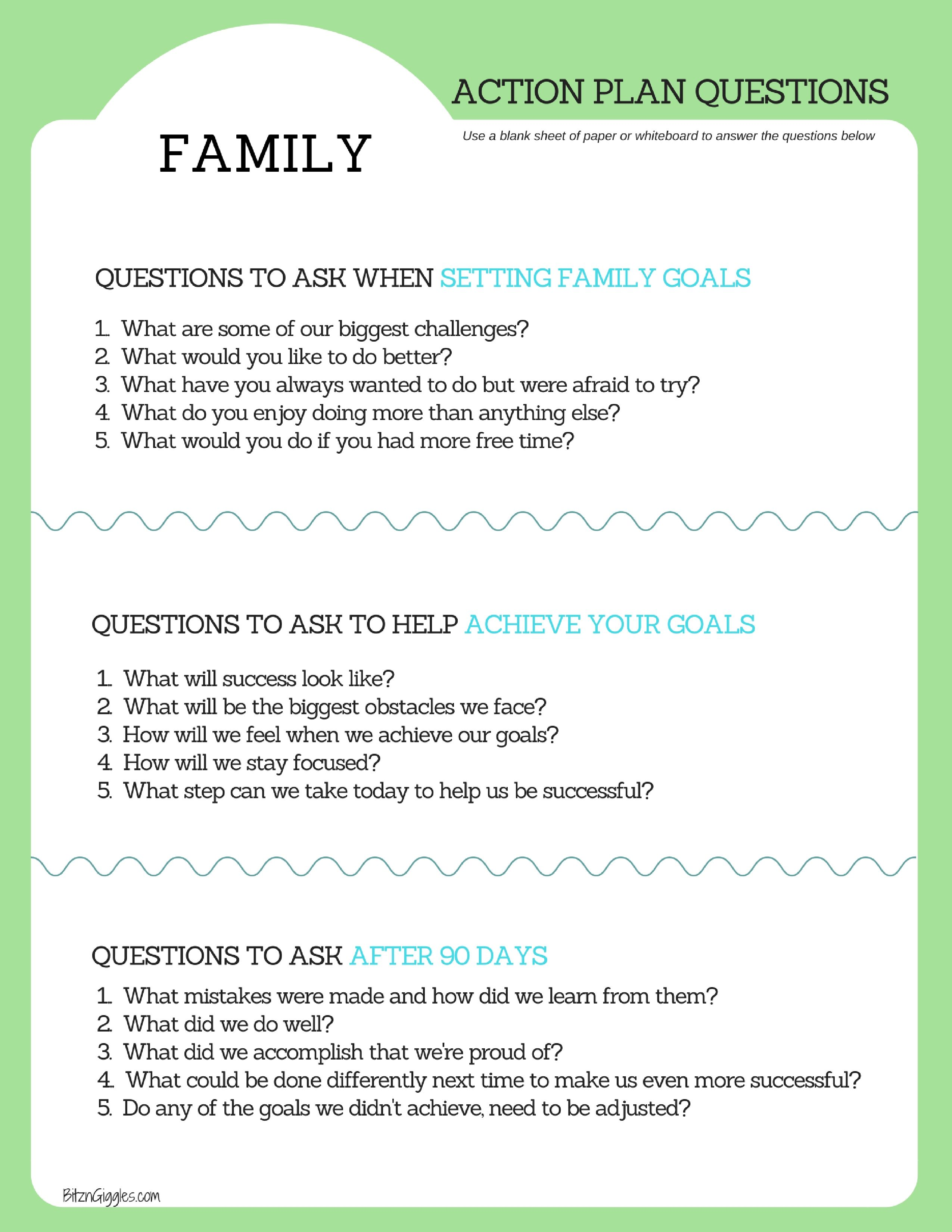 Family Goal Setting Printable With Images