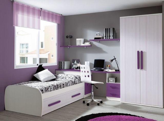 moderne kinderzimmerm bel m dchen lila wei graue akzentwand kidsroom kinderzimmer kinder. Black Bedroom Furniture Sets. Home Design Ideas