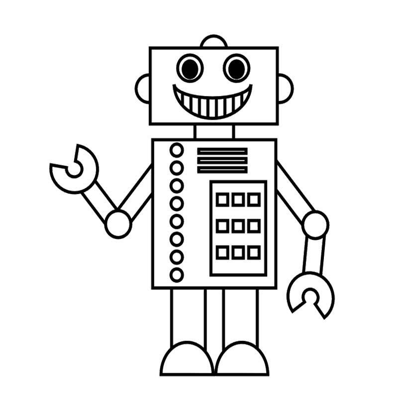 The Robot Design Is Cool And Nice Coloring Page Robot Kleurplaten Leuke Ideeen