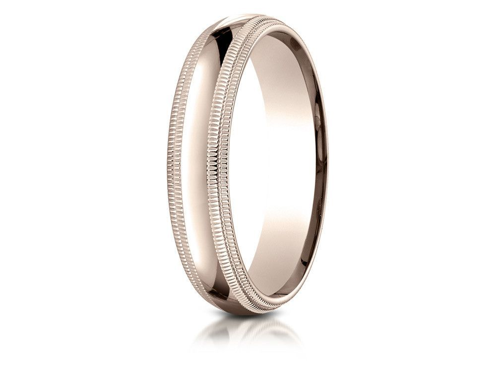 Benchmark 14k Rose Gold 5mm Slightly Domed Standard Comfort-fit Wedding Band / Ring With Double Milgrain
