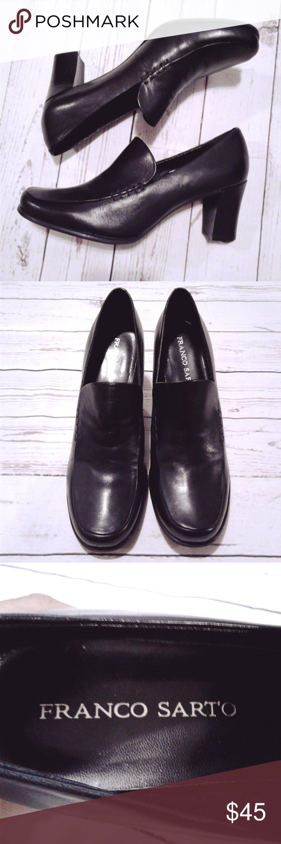 8ba6d540ba3 Franco Sarto Black Leather Nolan Slip On Shoes 9 M Women s Franco Sarto  Shoes Black Leather Nolan Slip On Heeled Loafers Size 9 M Excellent  Condition!