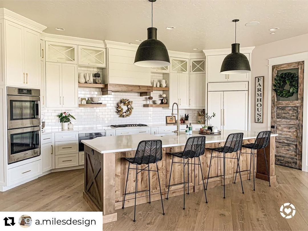 """Inspired Kitchens on Instagram: """"Love the wood floors and the wood accents in this kitchen! Beautiful! Repost from @a.milesdesign • Our kitchen is FINALLY decorated.…"""""""