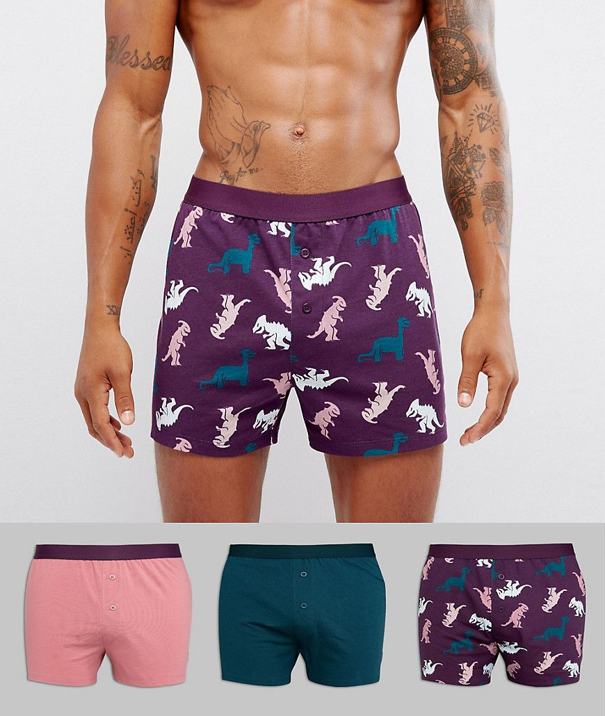 Get this Asos's boxers now! Click for more details. Worldwide shipping. ASOS  Jersey Boxers With Dino Print 3 Pack SAVE - Multi: Boxer shorts pack by ASOS,  ...