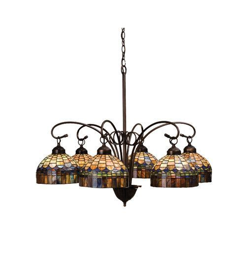 "Meyda 31""W Tiffany Candice 6 Lt Chandelier"