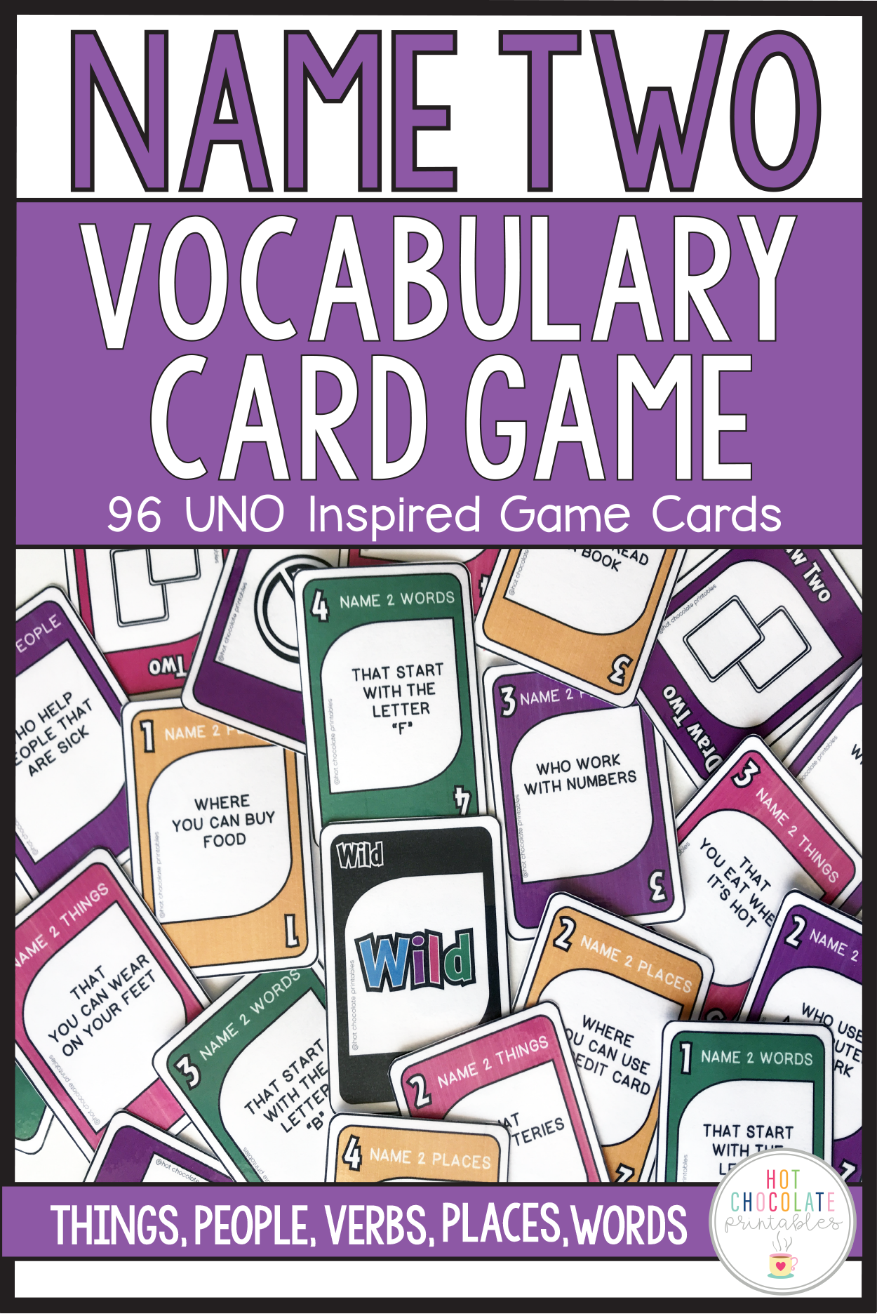 Vocabulary Building Card Game For Ell S People Places Things Verbs Vocabulary Building Card Games Printable Teaching Resources