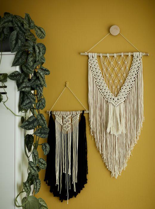 Macramé wall hangings on a yellow wall. | Boho Bathroom | Pinterest ...