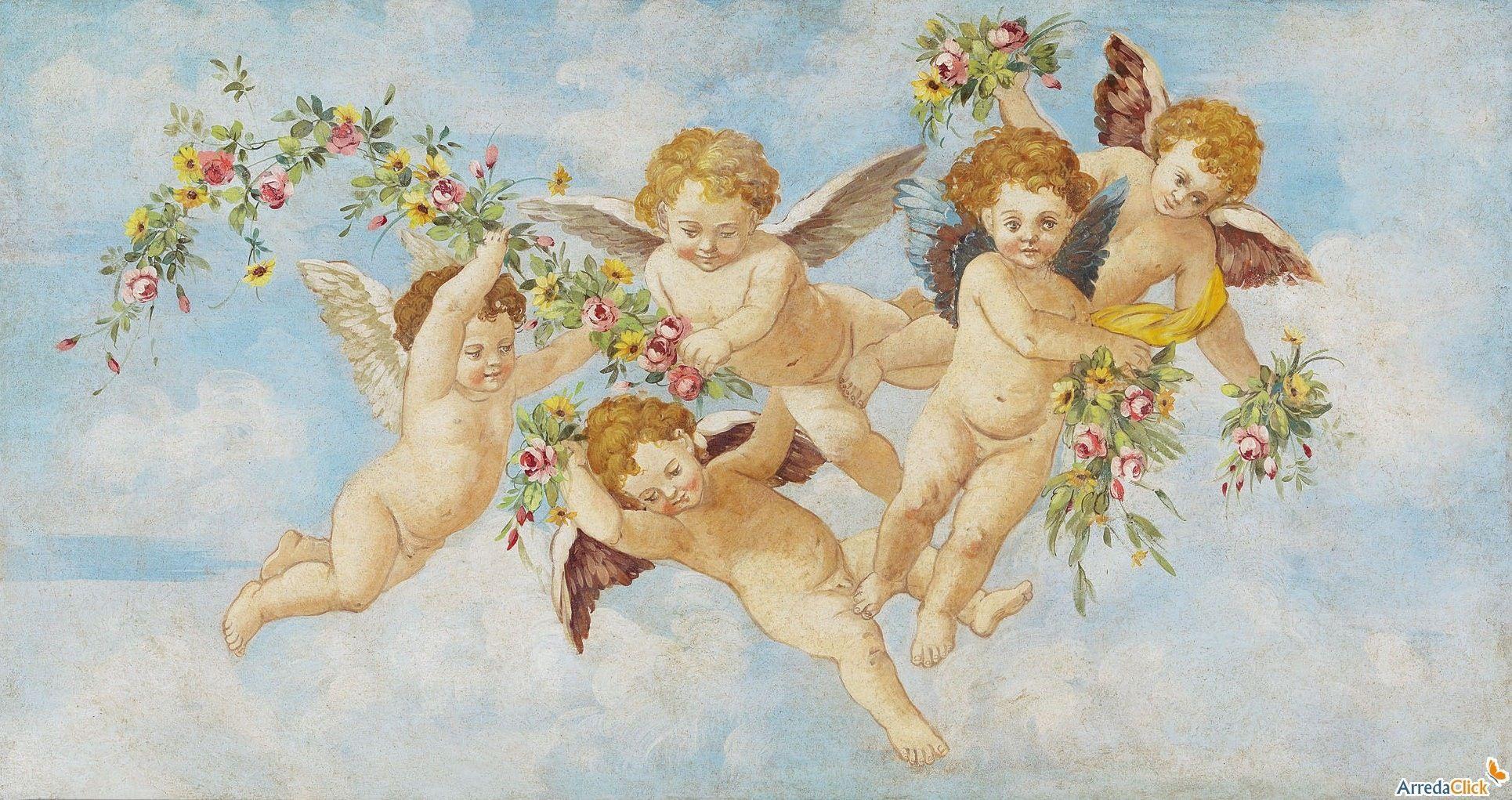 Watercolor putti cherubs putti pinterest for Quadri con angeli