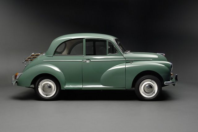 Morris Minor side by Flow Images.This is the first family car I remember.Yesteryear's mini-cooper.