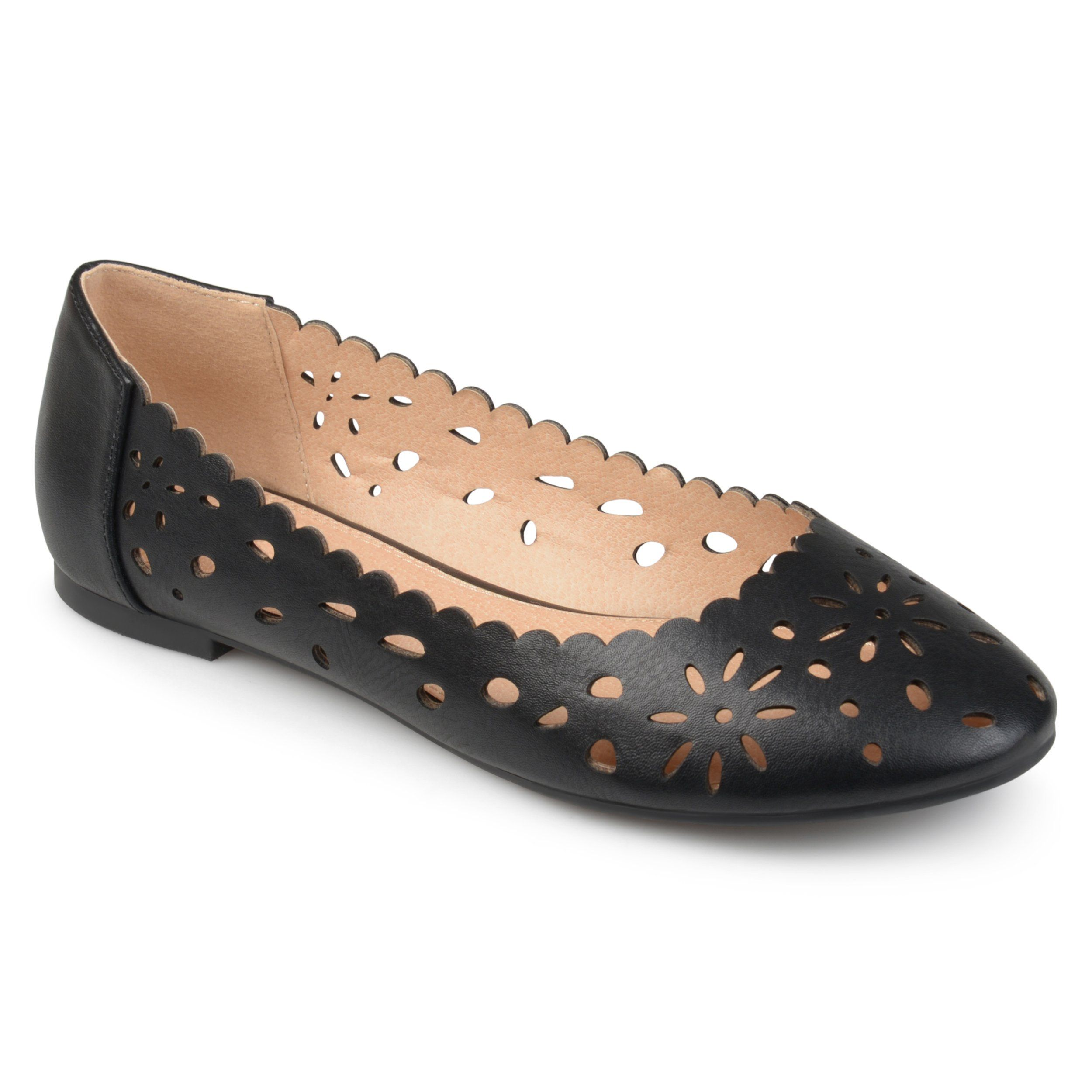 6c097598c ... flat shoes by Journee Collection. Faux leather uppers highlight  decorative cut-outs and scalloped edges bordering the silhouette. Classic round  toes add ...