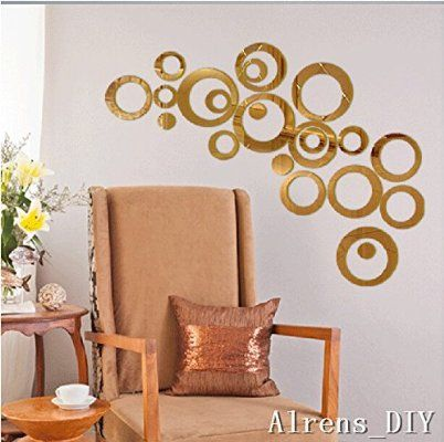 Alrens_DIY(TM) 22pcs Rounds Dots Circles Mirror Surface Crystal Wall Stickers DIY Acrylic 3D Home Decal Living Room Murals Wall Paper Decor adesivo de parede-4 Colors (Gold)