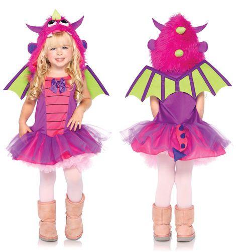 girls pink little dragon toddler halloween costume - Dragon Toddler Halloween Costume