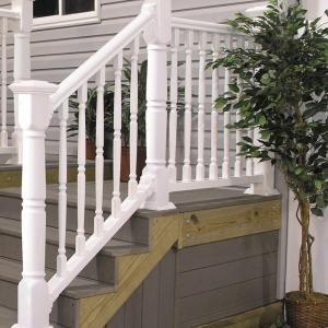 Veranda 6 Ft X 36 In White Williamsburg Stair Rail Kit 73003987 | Home Depot Railings For Steps | Metal | Handirail | Stair Parts | Tuffbilt | Front Porch Railings