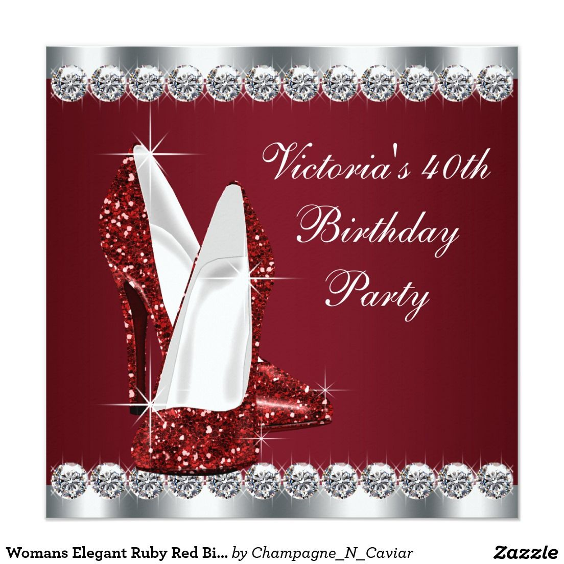 Womans Elegant Ruby Red Birthday Party Card   Red birthday party ...