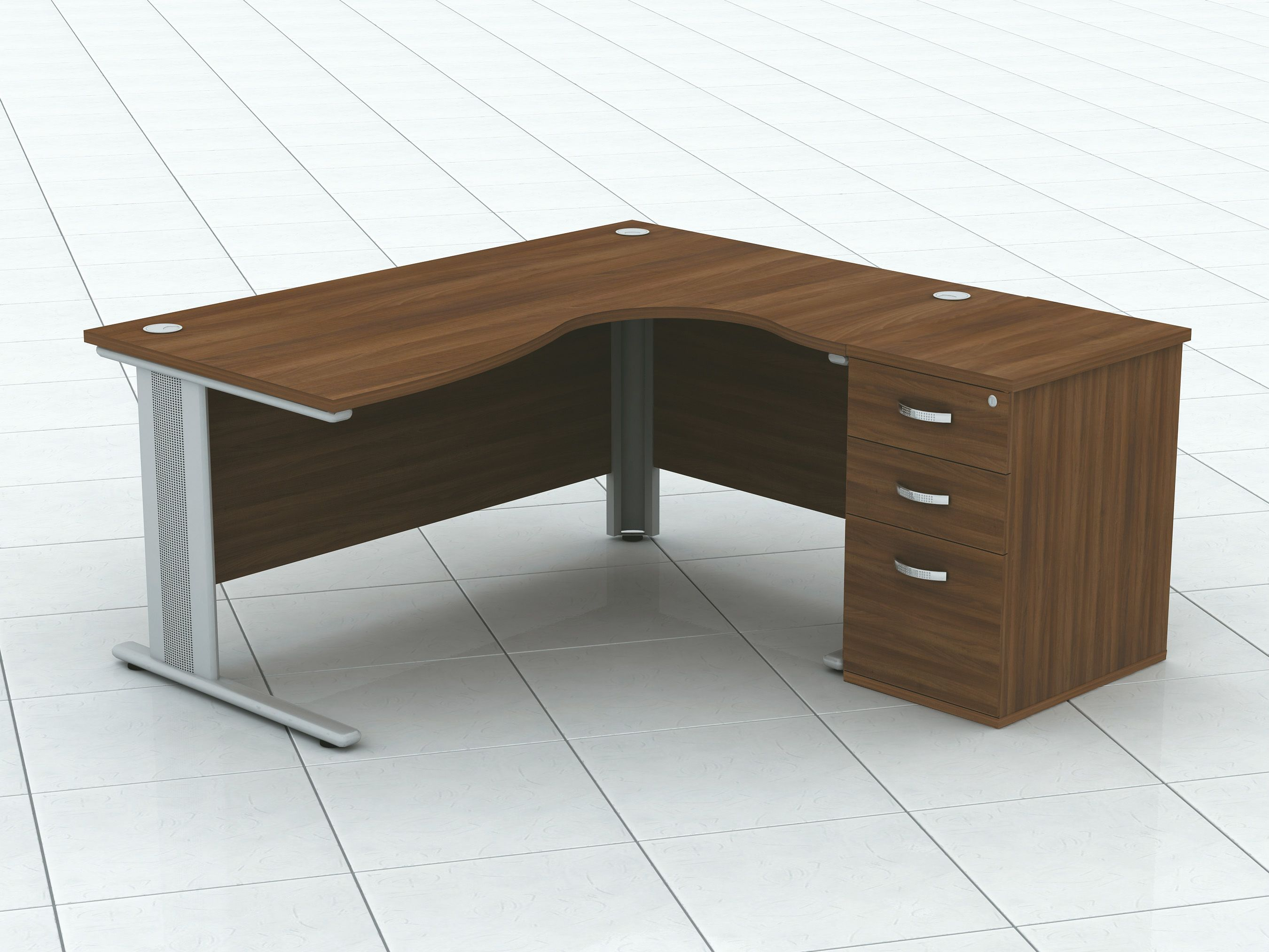 Qudos Crescent Shaped Desk And Desk High Pedestal By Imperial Desk Office Desk Home Decor