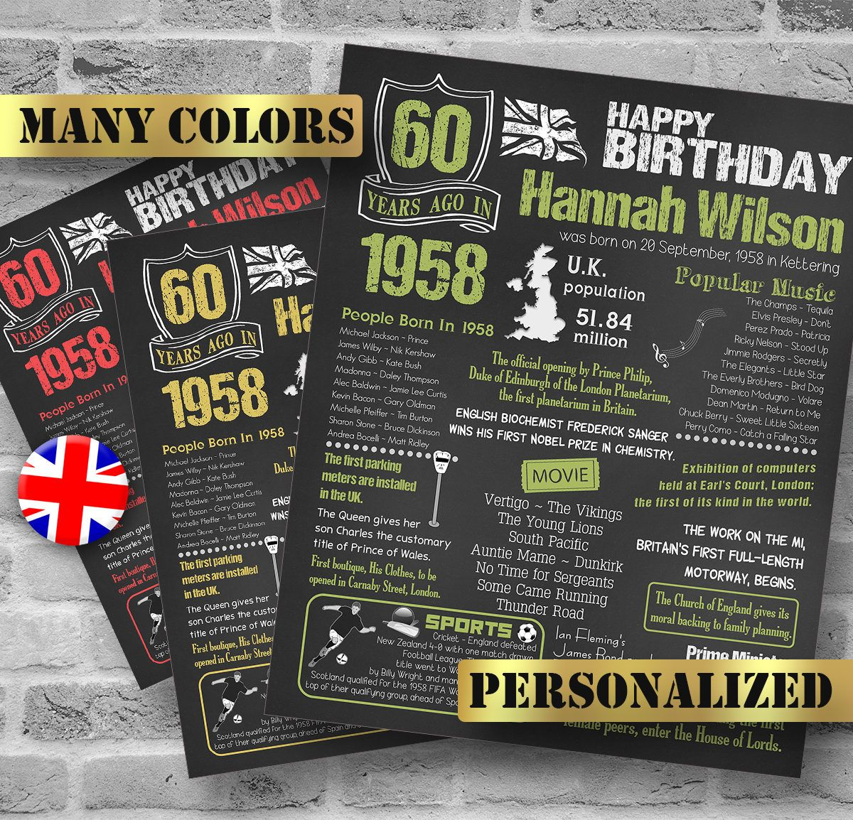 1958 60th birthday gift uk version personalized gift