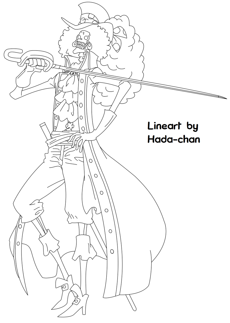 One Piece Film Z Brook Lineart By Hada Chan One Piece Drawing Anime Lineart Mandala Artwork