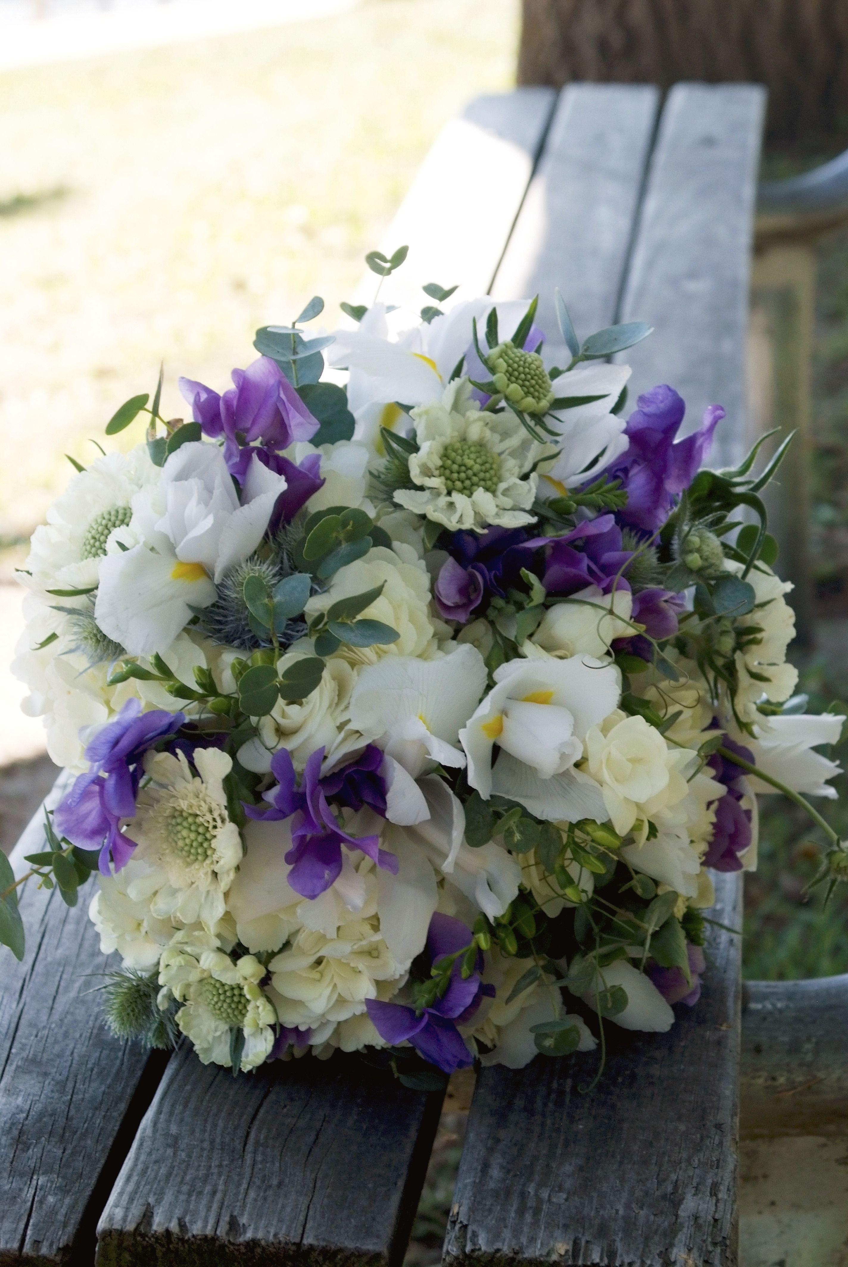 Bridal Bouquet Lilypots Floral Design In Lake Geneva Wi Flowers White And Purple Iris White Scabiosa Blu Wedding Flowers Beautiful Bouquet Bridal Bouquet