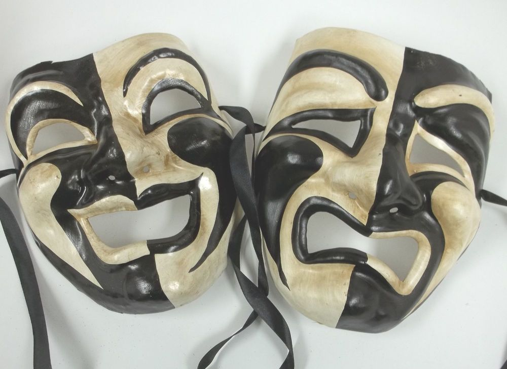 Black White Full Face Comedy Tragedy Venetian Masks Masquerade Wall Hanging Set #MGMB