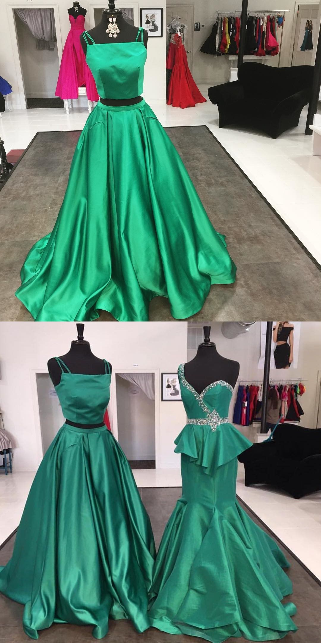 Two piece homecoming dress homecoming dress green homecoming