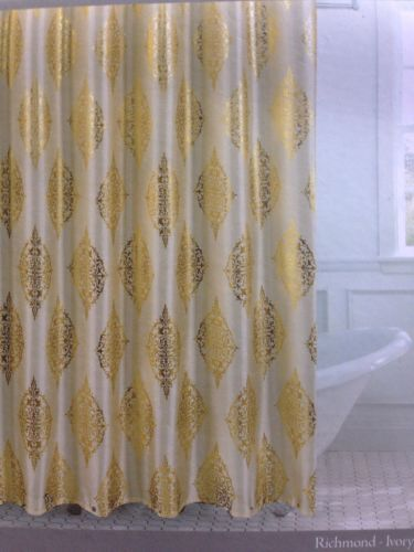 Couronne Dior Metallic Gold Ivory Toile Medallion Shower Curtain