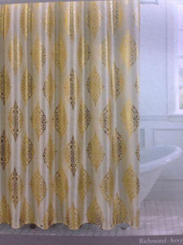 Couronne Dior Metallic Gold Ivory Toile Medallion Shower Curtain Hooks Fx Silk Medallion Shower Curtain Shower Curtain Hooks White Shower Curtain