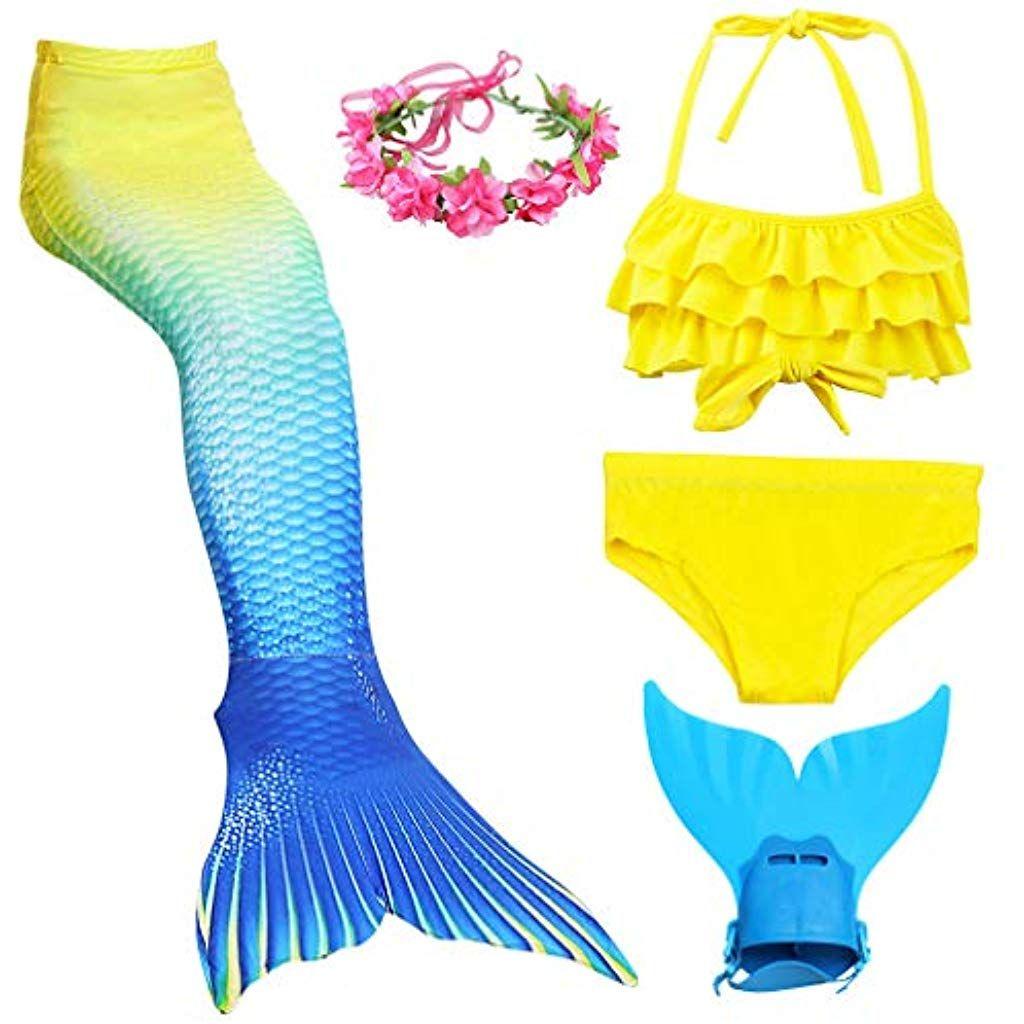 bae2ad1de774 Costume da Bagno a Coda di Sirena da Ragazza con Pinne da Nuoto e da Nuoto