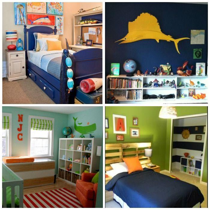 Orange Kids Room: Bright Nautical Boys Room #orange #navy #lime