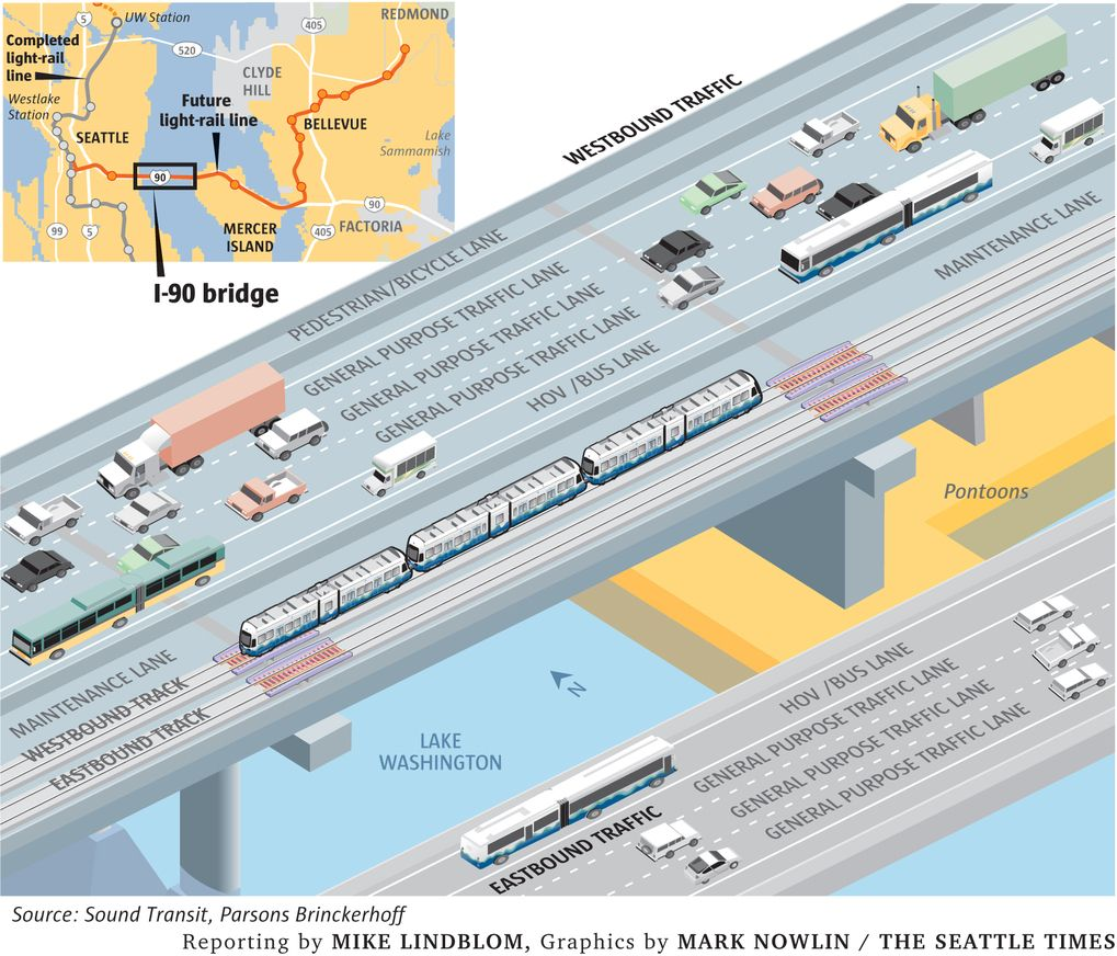 For the world\'s first light rail line on a floating bridge ...