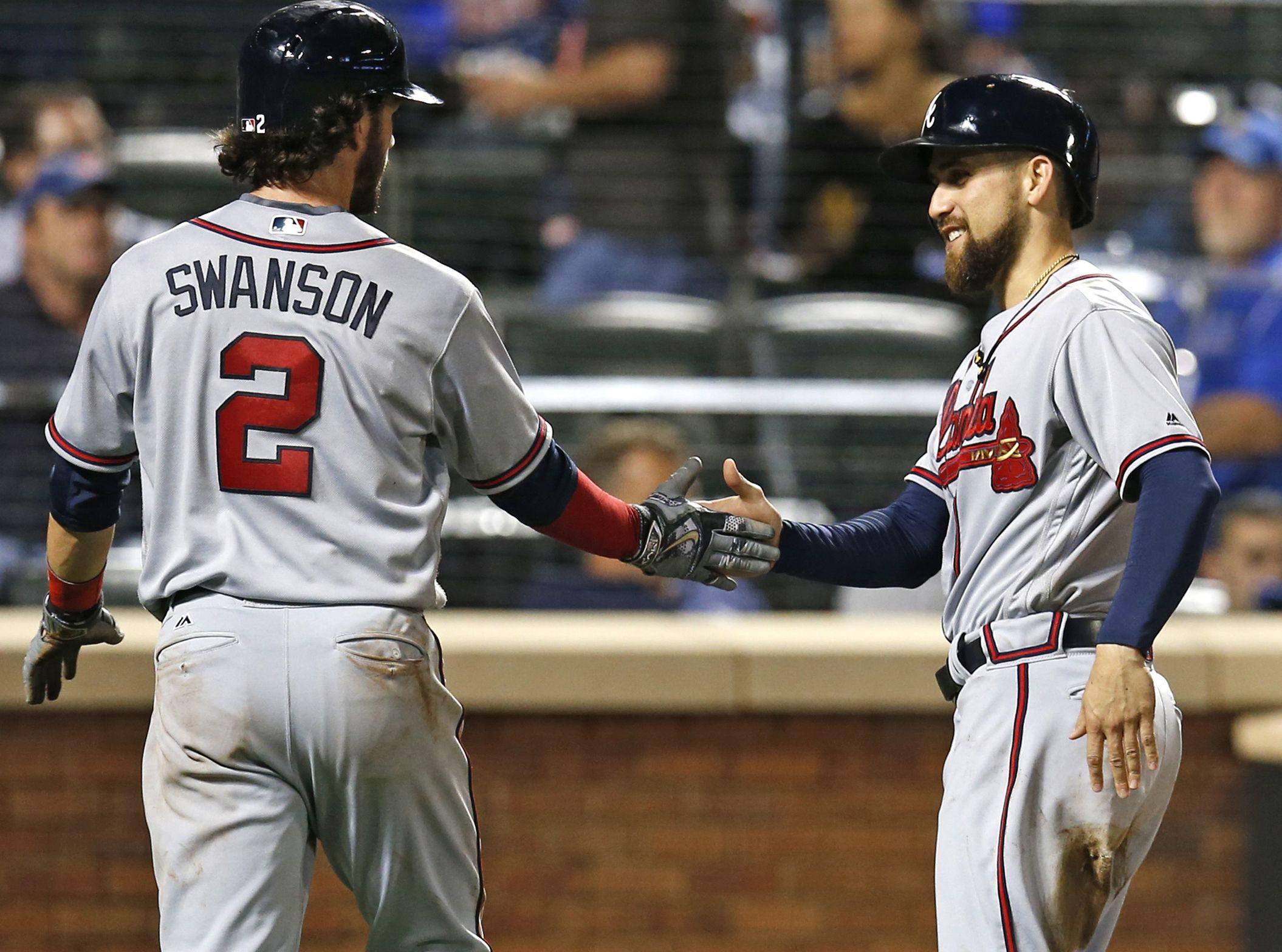 Atlanta Braves Dansby Swanson 2 And Braves Ender Inciarte Celebrate After Scoring On Freddie Freeman S Fourth Braves Atlanta Braves Atlanta Braves Baseball