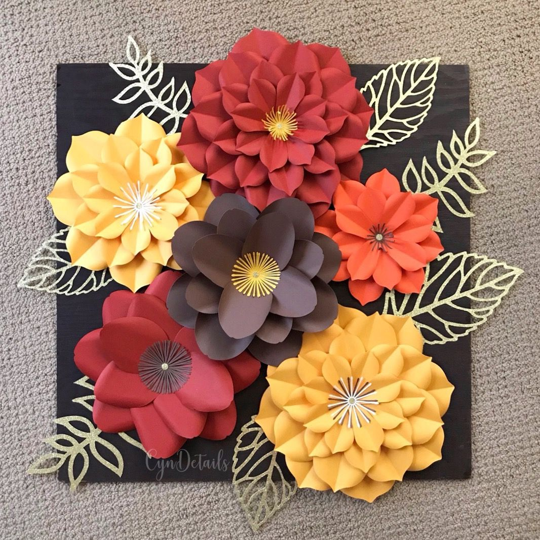 paper flower wall decor in fall colors by cyndetails ig. Black Bedroom Furniture Sets. Home Design Ideas