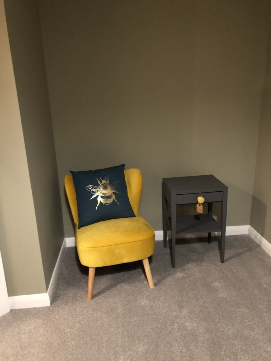 Starting the Bedroom designs. #velvetchair #yellow #asthetic #bees #restoration #greenwall #simplehomedecor.