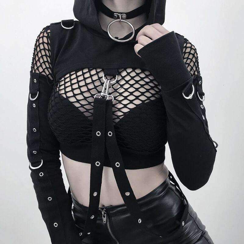 Gothic Long Sleeve Cropped Hoodie