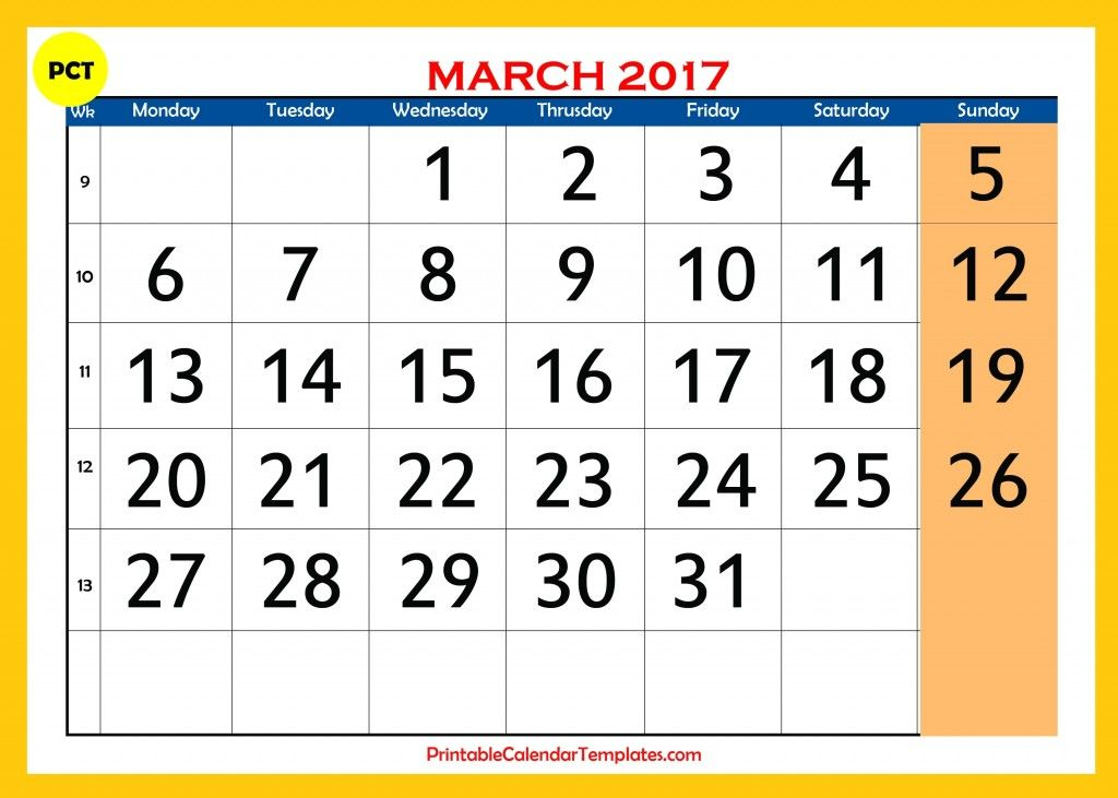 march 2017 calendar, march 2017 monthly calendar, march 2017 - copyright notice template