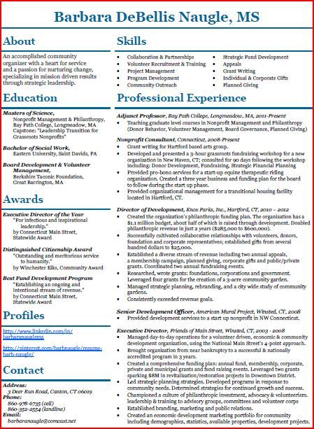 Barbs Resume In A Nontraditional Format All On One Page