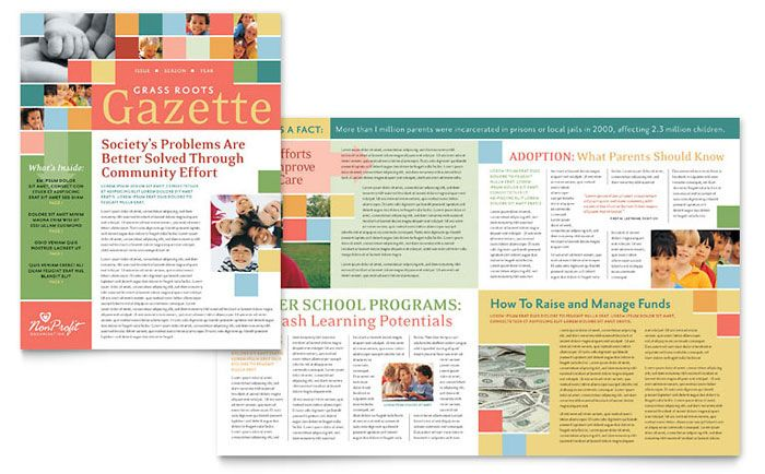 Non Profit Association for Children Newsletter Design Template by - school newsletter templates