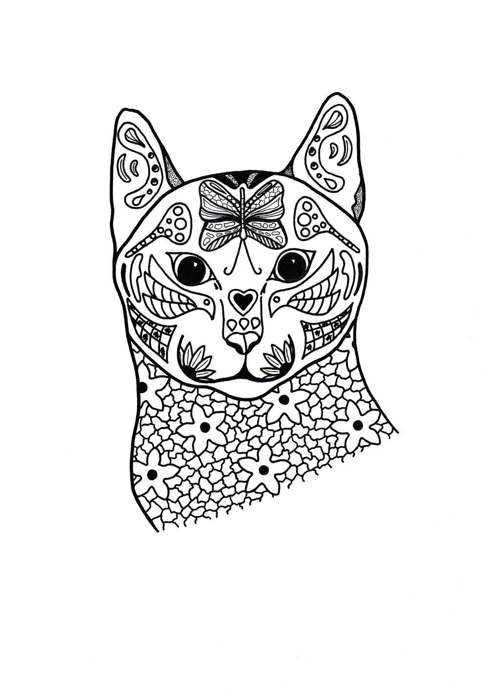 Springtime Cat Coloring Page Animal Coloring Pages Cat Coloring