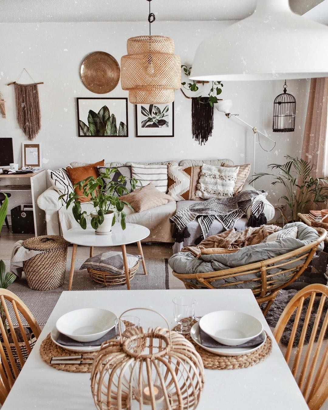 Cozy Living Room With White Interior And Bohemian Style Is Cute