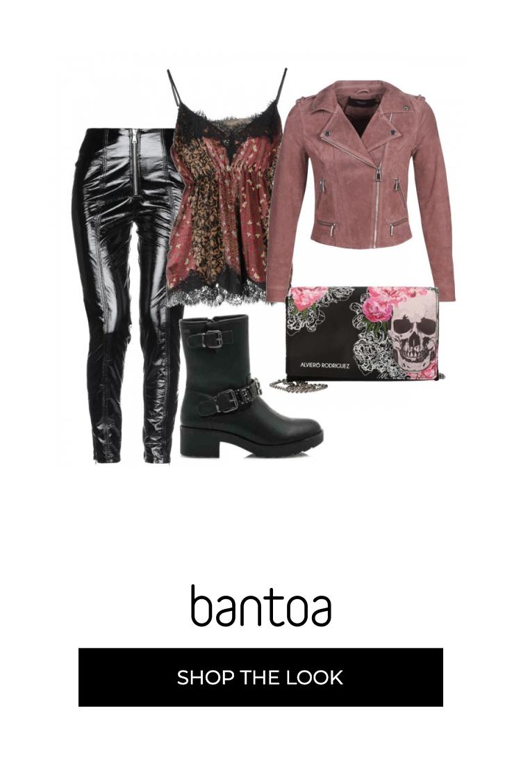 Outfit in stile punk ma con tocco glam: pantaloni neri in ...