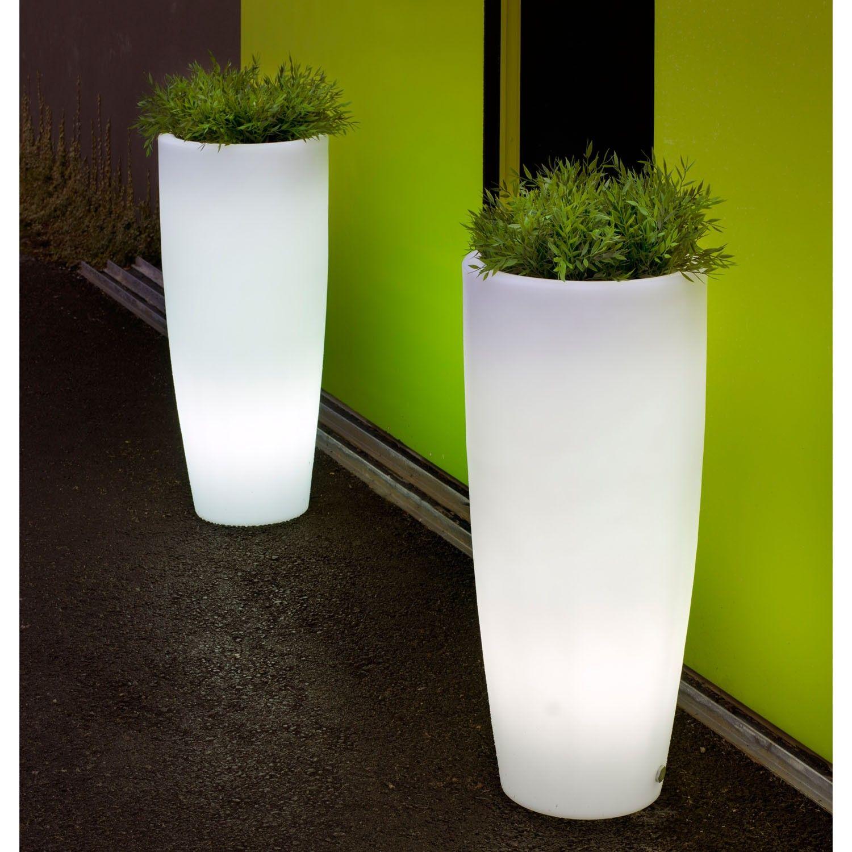 Macetero iluminado bambu - Macetas de exterior ...