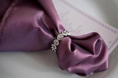 cloth napkins tied with lavender napkins if you are using a