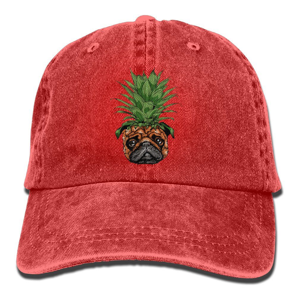 Funny Pineapple Pug Baseball Hat CapAdjustable Back Mesh Cap for Men and Women