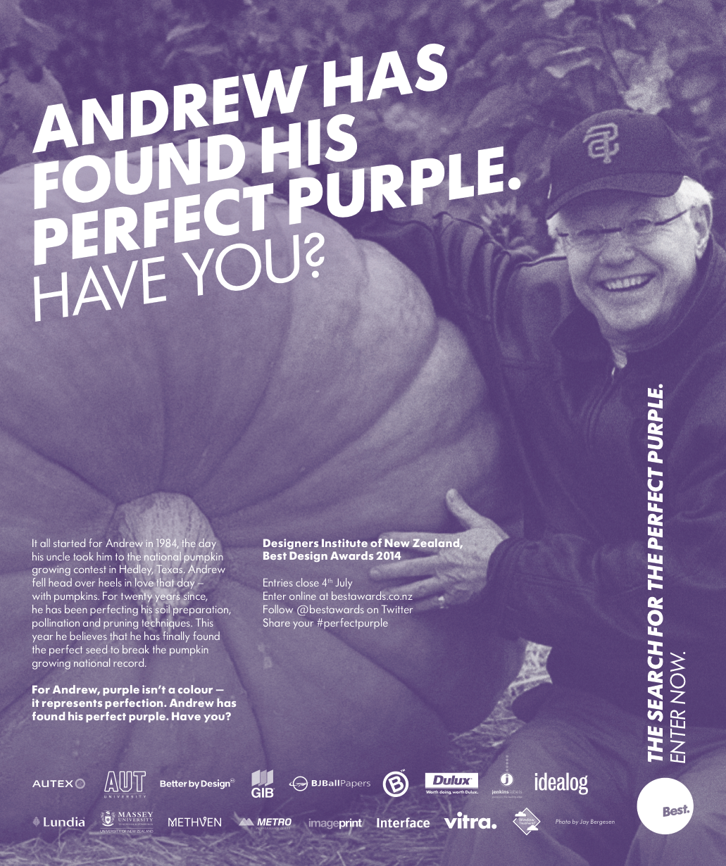 Andrew has found his #perfectpurple Have you?  Bestawards.co.nz