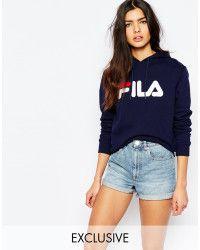 Womens Blue Oversized Pull Over Hoodie With Large Logo
