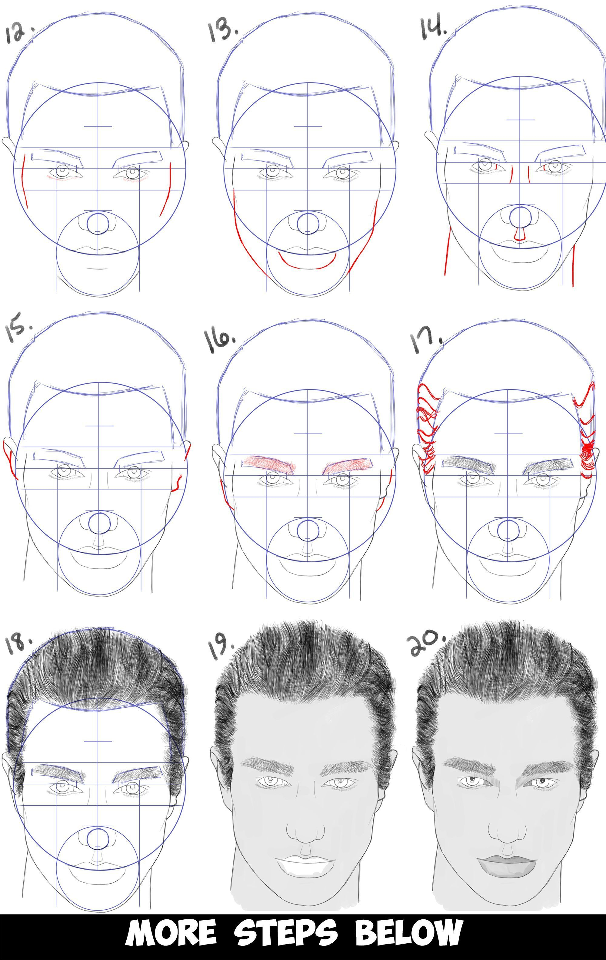 Learn how to draw a handsome mans face from the front view male simple steps drawing lesson for beginners