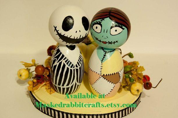 Jack and Sally Cake Topper by maskedrabbitcraftsdeviantartcom on