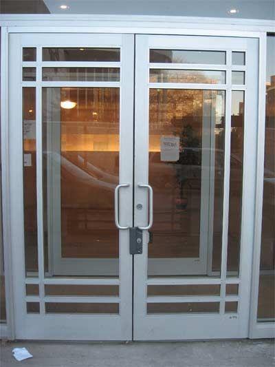 Commercial Entrance Doors Exterior Aluminum Entry Door Red Shoe