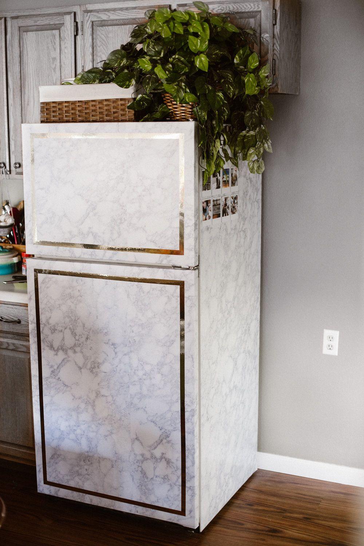 Diy marble chic fridge makeover delightfully tacky